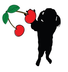 Girl with cherry in hand silhouette vector