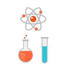 Atom icon chemical jar vector
