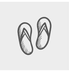 Beach slipper sketch icon vector image