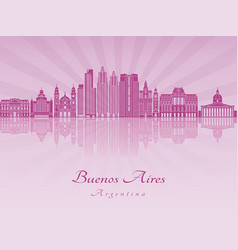 Buenos aires v2 skyline in purple radiant orchid vector