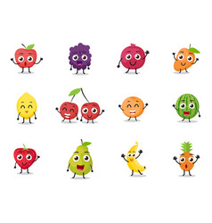 cartoon fruits characters vector image vector image