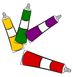 Cartoon tubes of paint eps10 vector image