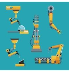 Collection robotic industrial equipment green vector