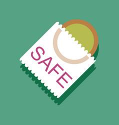 Flat icon design safe condom in sticker style vector