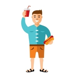 Happy hipster man with hot dog and drink vector
