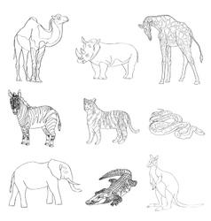Image rhino kangaroo giraffe vector