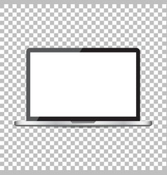 Laptop with white screen flat icon computer on vector