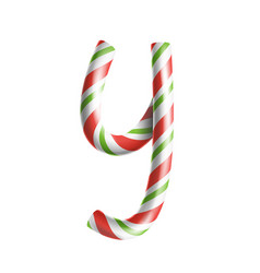 letter y 3d realistic candy cane alphabet vector image vector image