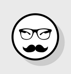 Mustache and glasses sign flat black icon vector