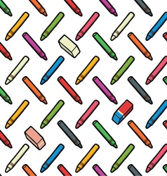 pattern of pencils and erasers vector image