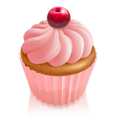 pink fairy cake cupcake with cherry vector image