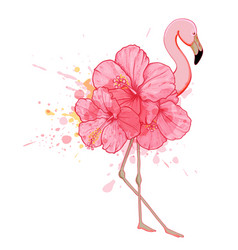 pink floral flamingo vector image vector image