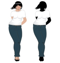 Plump woman in white t shirt vector