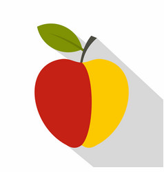 red and yellow apple icon flat style vector image vector image
