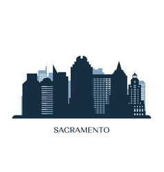 Sacramento skyline monochrome silhouette vector