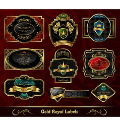 set colorful gold framed labels vector image