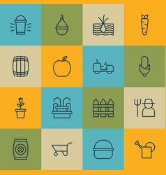 Set of 16 garden icons includes barrier maize vector