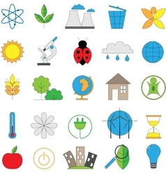 Set of line modern color icons for green energy vector image vector image