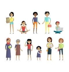 Set of Women of Different Ages and Races Isolated vector image