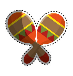Sticker colorful pair mexican maraca instrument vector