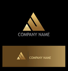 triangle gold company logo vector image