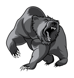 walking bear animal head black and white vector image