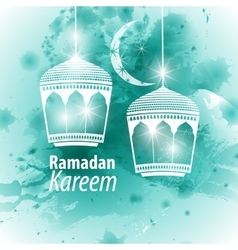Watercolor blue ramadan kareem vector