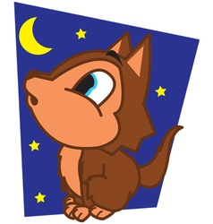 Wolf at night vector