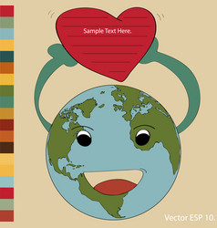 World map earth globe for valentine concept vector