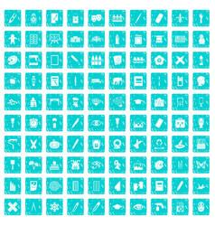 100 paint school icons set grunge blue vector