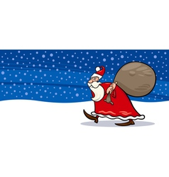 Santa claus with sack cartoon card vector
