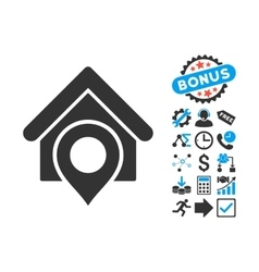 Realty Location Flat Icon with Bonus vector image