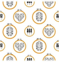 Needlework design on embroidery hoops pattern vector