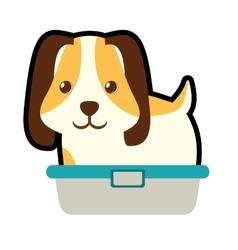 Cute puppy little pet domestic bathtub vector