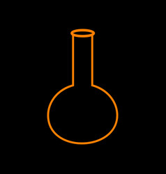 Tube laboratory glass sign orange icon on black vector