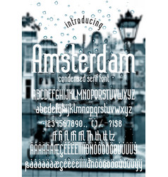 Amsterdam - modern display condensed serif font vector