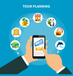 Tour planning with tickets on smartphone screen vector