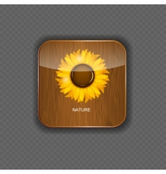 Flower wood application icons vector