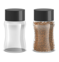 realistic detailed instant coffee glass jar set vector image