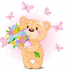 Pink teddy bear with flowers vector