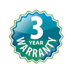 Logo stamped 3 year warranty vector