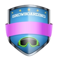 Snowboard shield badge vector