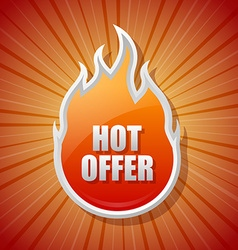 Glossy hot offer icon vector image