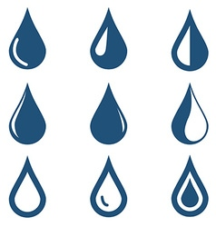 Water drop icons set on white background vector