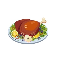 Roasted turkey ham with vegetables and apples on a vector