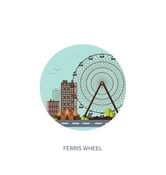 Ferris wheel summer carnival vector