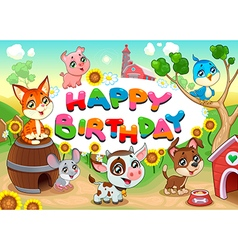 Happy birthday card with farm animals cartoon vector