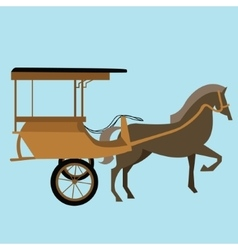 Horse carriage cart asia delman old vector