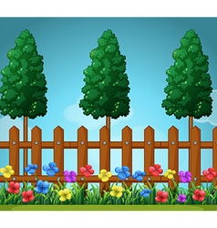Scene with trees and wooden fence vector