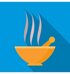 Orange mortar and pestle with steam icon vector image